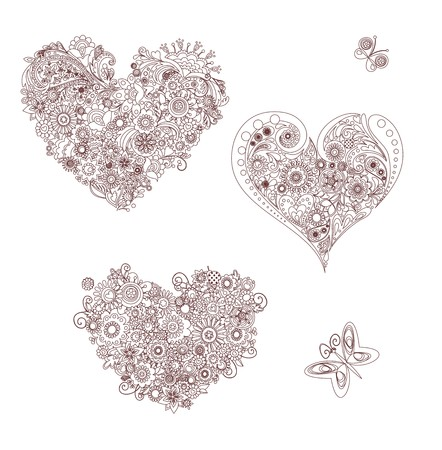Silhouette von floralen Herzformen Vektorgrafik