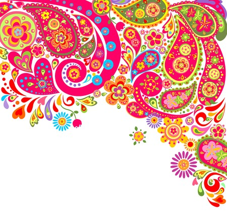 Summery colorful background with paisley Иллюстрация