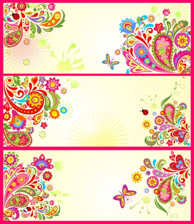 butterfly background: Summery decorative banners