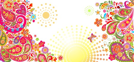 flower banner: Summery horizontal decorative banner with floral abstract pattern Illustration