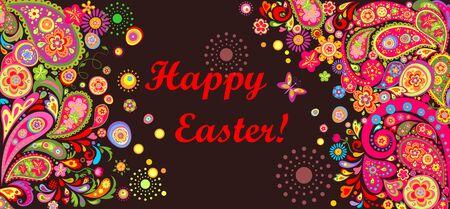 horizontal: Easter horizontal colorful banner