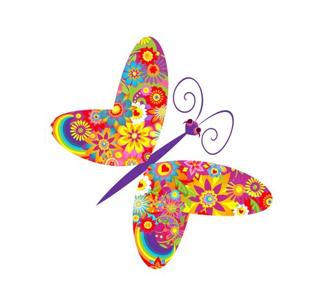 butterfly flower: Flowers print with funny colorful butterfly