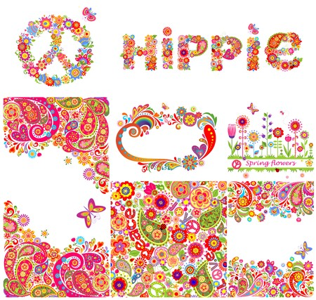 Set of hippie backgrounds and design elements 일러스트