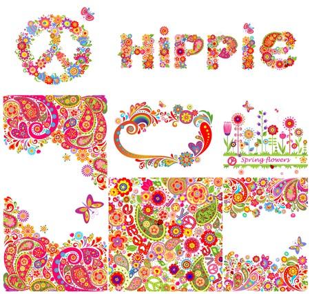 Conjunto de fondos hippie y elementos de diseño