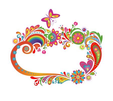 Summery colorata cornice floreale con arcobaleno