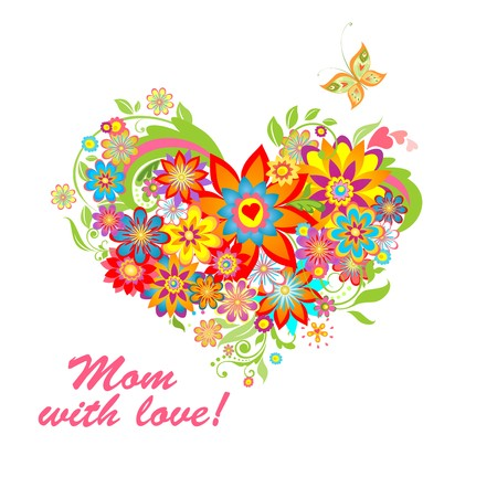 mother day: Greeting card with floral heart shape for mothers day