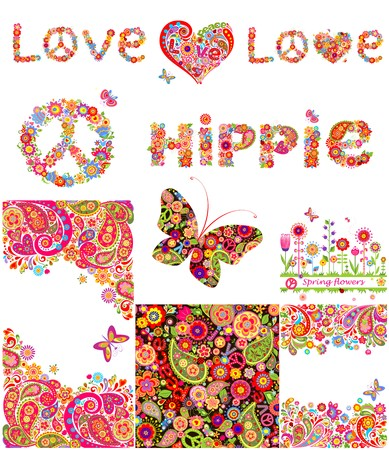 hippie: Set of hippie backgrounds