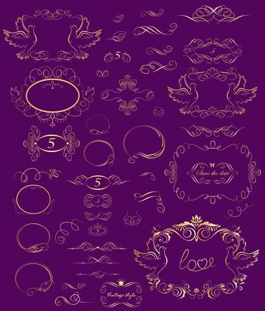 page borders: Wedding golden vintage design