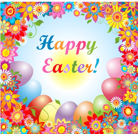 pasch: Easter card with colorful flowers and painted eggs