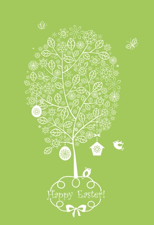 flowered: Easter lacy flowered tree Illustration