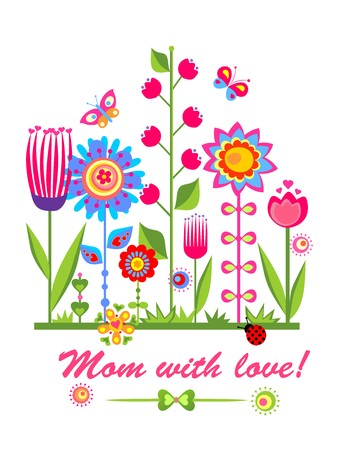mother day: Greeting card for mothers day with funny spring flowers