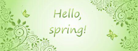 Spring green horizontal decorative banner