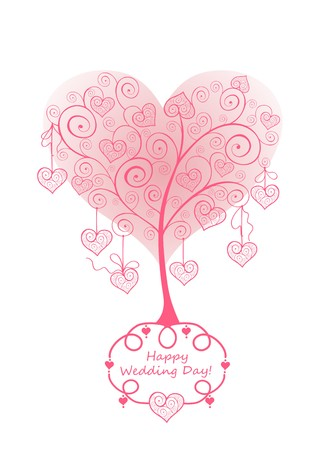 lacy: Wedding card with beautiful lacy pink tree Illustration