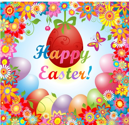 pasch: Easter greeting with flowers and hanging egg Illustration
