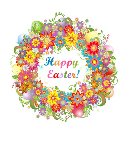 saturated: Easter wreath with colorful flowers and saturated eggs Illustration