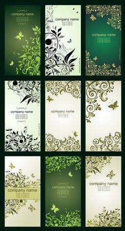 vertical: Banderas verticales florales de la vendimia