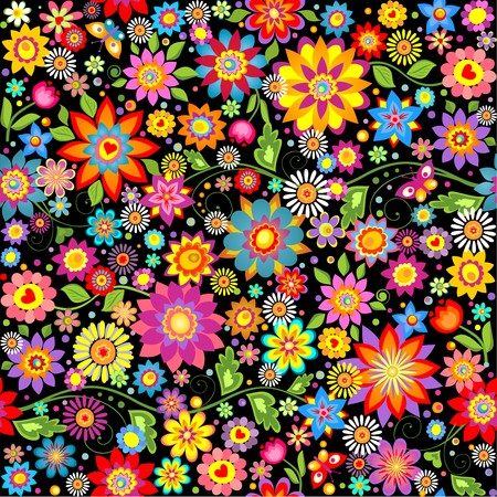 Wallpaper with abstract funny colorful flowers