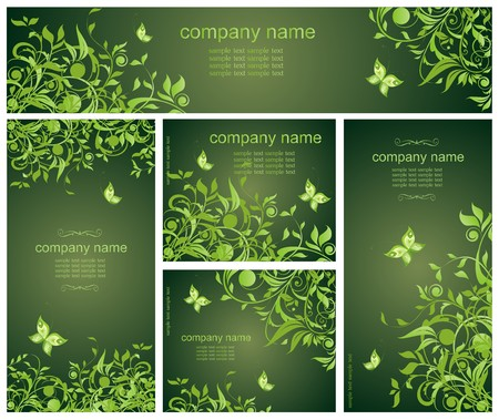herbal: Green floral templates
