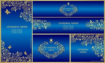 黄金のビンテージ パターンとロイヤル ブルーのテンプレート  イラスト・ベクター素材