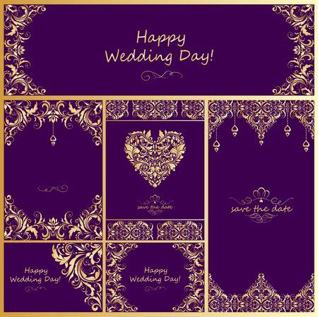 golden shower: Wedding vintage golden design Illustration
