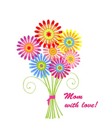 mother day: Greeting bouquet with daisy for mothers day Illustration