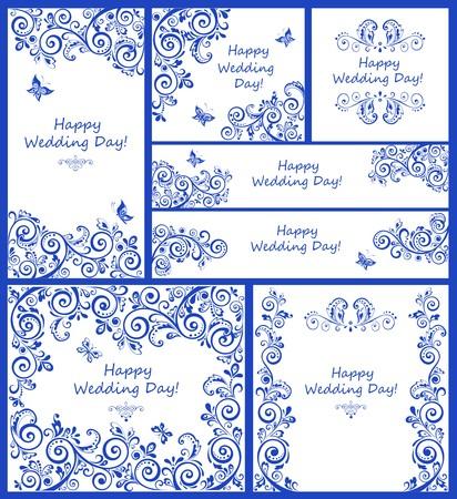 marcos decorativos: diseño de la boda de la vendimia. Conjunto