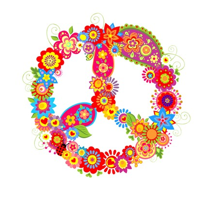 flowerpower: Peace flower symbol with poppies and paisley