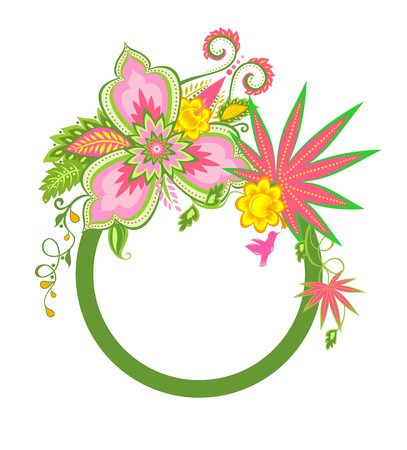 exotic flowers: Frame with exotic flowers and bird