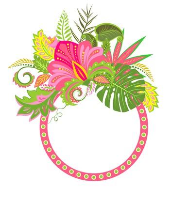 flores exoticas: Etiqueta con flores exóticas decorativas