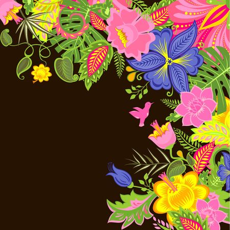 tropical: Tropical background with exotic flowers