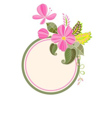 flores exoticas: sello de la boda con flores exóticas Vectores