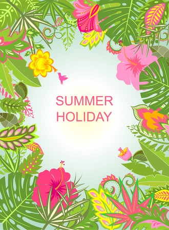 holiday background: Summer holiday background with exotic flowers