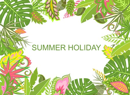 sample environment: Summer tropical background with exotic leaves Illustration