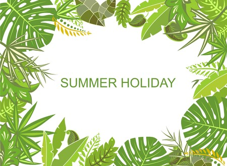summery: Summer tropical green background Illustration