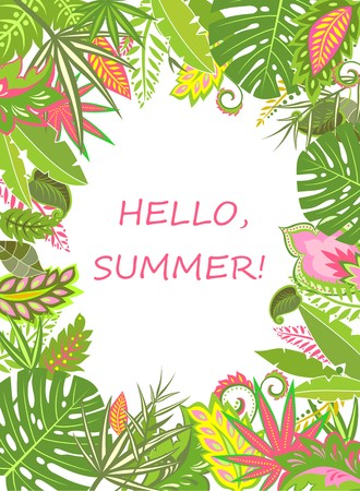 summery: Summer tropical poster with exotic leaves