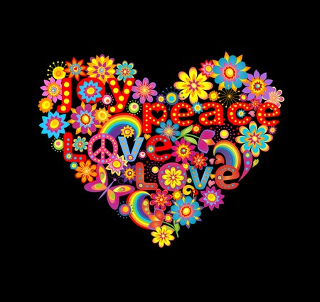 sixties: Floral heart shape with hippie symbolic Illustration