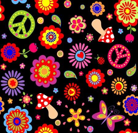 flower power: Funny childish wallpaper with mushroom