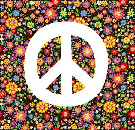 flowerpower: Hippie wallpaper with flowers print Illustration