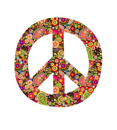 flowerpower: Peace symbol with colorful flowers print