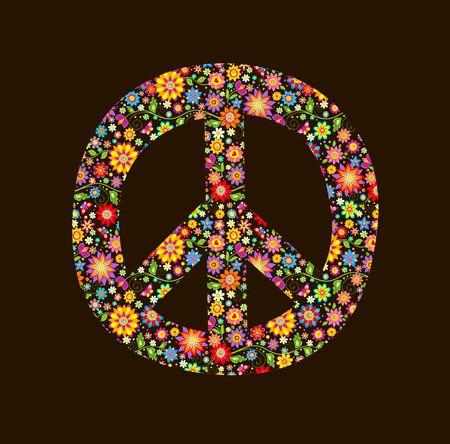 平和の花シンボルで印刷します。