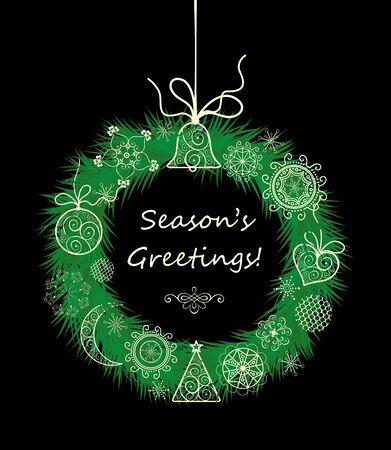season: Season greetings with xmas hanging decorative wreath Illustration