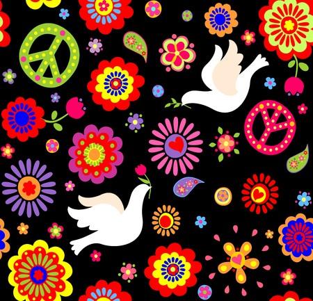 flower power: Wallpaper with hippie symbolic