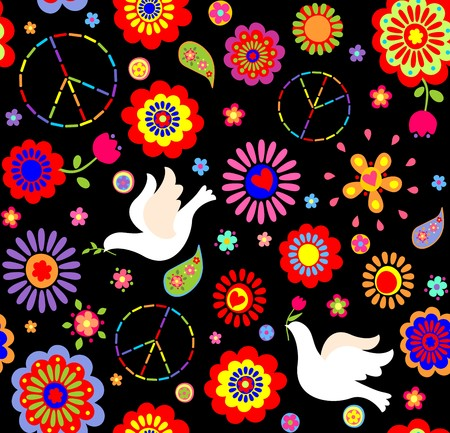 flowerpower: Childish wallpaper with hippie symbolic and doves Illustration