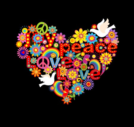 flowerpower: Heart shape with hippie symbolic and doves Illustration