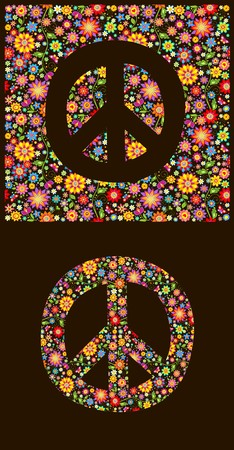 flowerpower: Flowers wallpaper with peace symbol