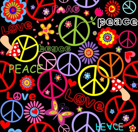 flowerpower: Hippie wallpaper with peace symbol, mushrooms and abstract flowers
