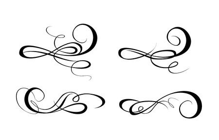 calligraphic design: Set of vintage calligraphic design elements
