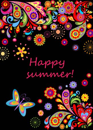 summery: Summery banner with abstract flowers colorful pattern Illustration