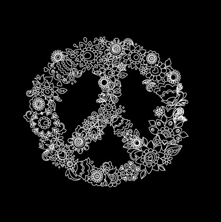 flowerpower: Vintage flower peace symbol (black and white)