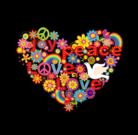 flowerpower: Hippie heart print with doves and rainbow Illustration